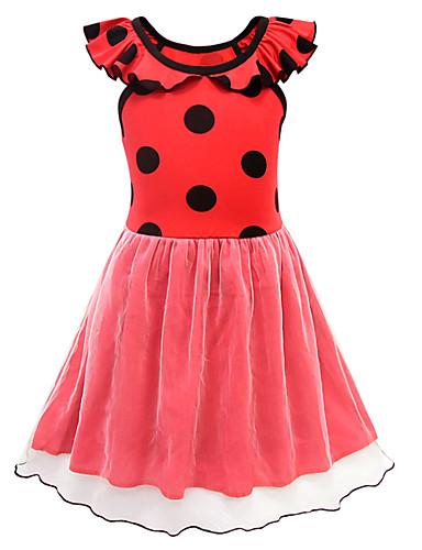 שמלה מעל הברך שרוולים קצרים מנוקד פעיל / סגנון רחוב בנות ילדים / פעוטות
