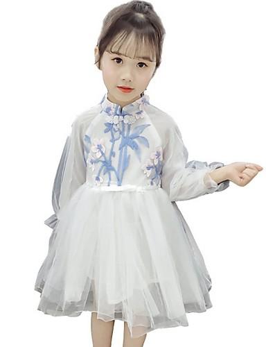 גזרת A באורך  הברך שמלה לנערת הפרחים  - טול שרוול ארוך המלכה אן עם דוגמא \ הדפס על ידי LAN TING Express