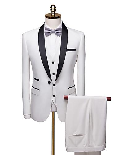 בורגנדי / לבן / כחול נייבי מעוטר גזרה רגילה פוליאסטר חליפה - צווארון צעיף (שאל) Single Breasted One-button