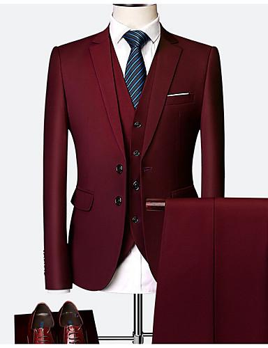 abordables Manteaux & Vests Homme-Homme costumes, Couleur Pleine Col de Chemise Polyester Vin / Bleu clair / Bleu royal XXXXL / XXXXXL / XXXXXXL