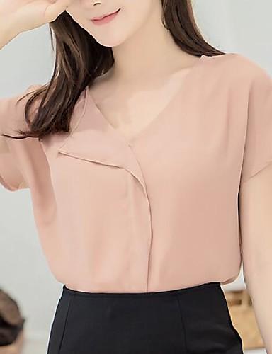 abordables Hauts pour Femmes-Tee-shirt Femme, Couleur Pleine Plissé Business / Basique Col en V Ample Blanche