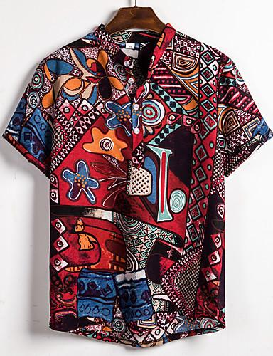 economico Camicie da uomo-Camicia Per uomo Moda città / Elegante Con stampe, Monocolore / Pop art Arcobaleno US38