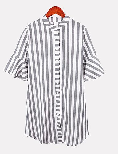 פסים / גיאומטרי צווארון V בסיסי חולצה - בגדי ריקוד נשים דפוס אפור