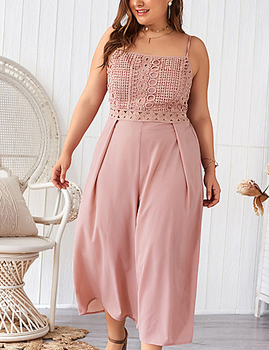 cheap Women's Jumpsuits & Rompers-Women's Basic / Sophisticated Blushing Pink Jumpsuit, Solid Colored Lace / Patchwork XXL XXXL XXXXL