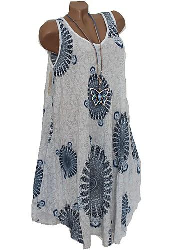 abordables Robes Femme-Femme Rétro Vintage Bohème Midi Balançoire Robe - Mosaïque Imprimé, Fleur Vert Blanc Marron clair XXXL XXXXL XXXXXL Sans Manches