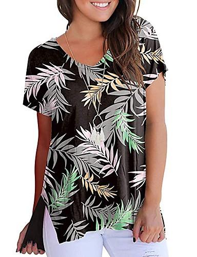 billige Topper til damer-Løstsittende T-skjorte Dame - Geometrisk / Tribal, Trykt mønster Grunnleggende / Chinoiserie Regnbue