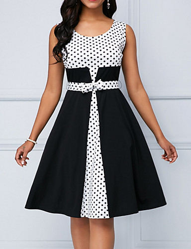 cheap 2019 Trends-Women's Elegant A Line Dress - Polka Dot Black XL XXL XXXL