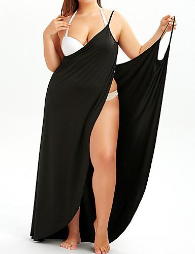voordelige Grote maten jurken-Dames Street chic Punk & Gothic Bodycon Wijd uitlopend Jurk - Effen, Blote rug Patchwork Asymmetrisch