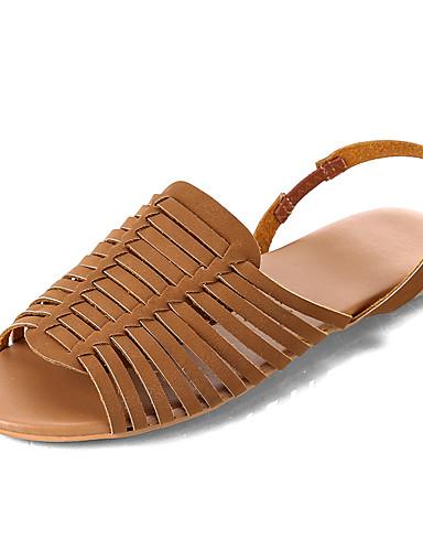 povoljno Ženske sandale-Žene Sandale Šalovi s ravnim peta Ravna potpetica Eko koža minimalizam Ljeto Bijela / Crvena / Tamno smeđa