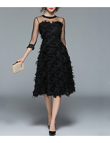 4be03e0c15f Women's Sheer Party / Going out Vintage / Street chic A Line / Little Black  Dress - Solid Colored Tassel Spring Black L XL XXL