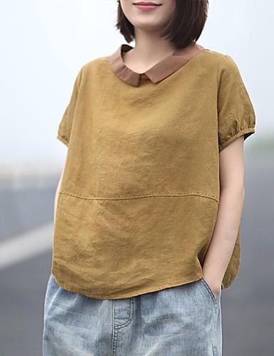 abordables Hauts pour Femme-Chemise Grandes Tailles Femme, Couleur Pleine Mosaïque Chinoiserie / Elégant Col de Chemise Rose Poudré Blanche