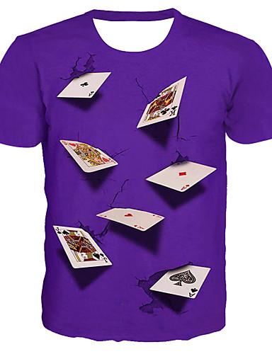 voordelige Heren T-shirts & tanktops-Heren Standaard / overdreven Print Grote maten - T-shirt 3D / Grafisch / Letter Ronde hals Rood / Korte mouw