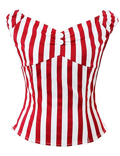 abordables Hauts pour Femmes-Chemise Femme, Rayé / Cachemire - Coton Sortie Rétro Vintage / Basique Col en V Rouge