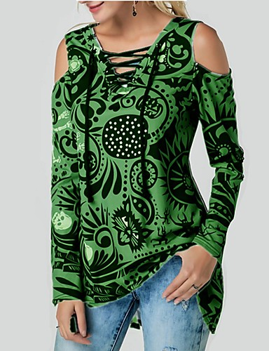 billige Dametopper-Løstsittende V-hals T-skjorte Dame - Hodeskaller, Blondér Gatemote Svart & Rød / Svart og hvit Rød