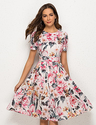 Kadın's A Şekilli Elbise - Çiçekli Diz-boyu