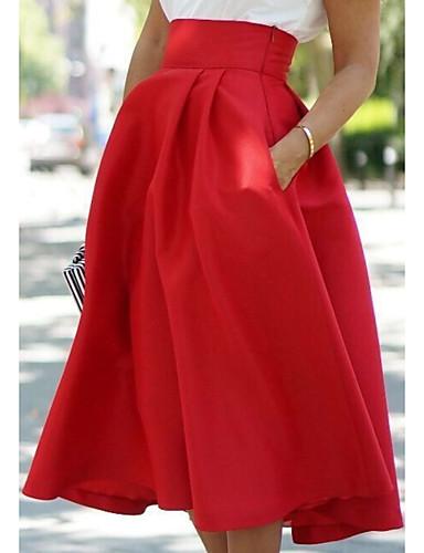 povoljno Donji dijelovi odjeće za žene-Žene A kroj Ulični šik Suknje - Jednobojni Crn Plava Red S M L