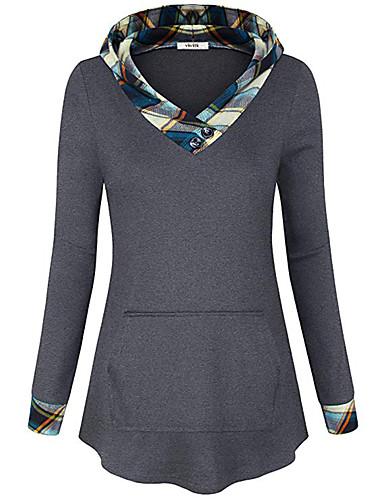 abordables Hauts pour Femme-Tee-shirt Femme, Couleur Pleine / Pied-de-poule / Tartan - Coton Mosaïque Rétro Vintage / Chic de Rue Noir