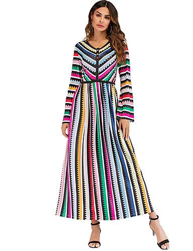 Kadın's Zarif Kombinezon Elbise - Çizgili Gökküşağı, Desen Maksi