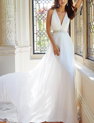 abordables robe mariage civil-Trapèze Col en V Traîne Tribunal Mousseline de soie Robes de mariée sur mesure avec Dentelle par LAN TING Express