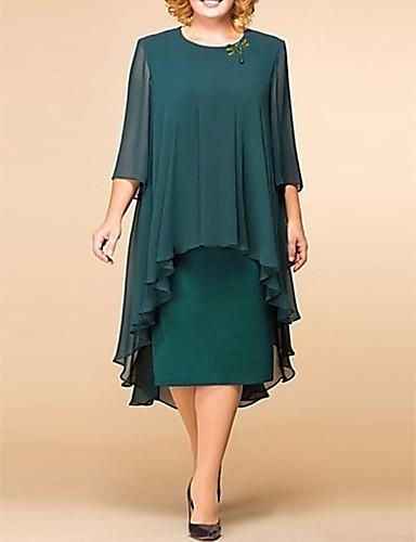 abordables Robes Femme-Femme Elégant Midi Ample Courte Robe - Dentelle Imprimé, Couleur Pleine Fleur Vert S M L Dentelle Demi Manches
