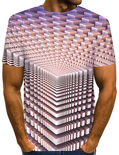 voordelige Heren T-shirts & tanktops-Heren Street chic / overdreven Print EU / VS maat - T-shirt Club Kleurenblok / 3D / Grafisch Ronde hals Lichtgrijs / Korte mouw