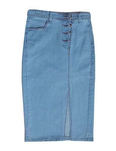 abordables Jupes-Femme Sophistiqué Toile de jean Moulante Jupes - Couleur Pleine Mosaïque Bleu Bleu clair XL XXL XXXL / Slim / Mince