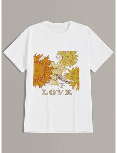 voordelige Heren T-shirts & tanktops-Heren Print Grote maten - T-shirt Geometrisch Ronde hals Wit / Korte mouw