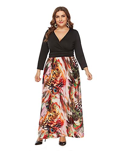voordelige Maxi-jurken-Dames A-lijn Jurk - Abstract, Patchwork Maxi