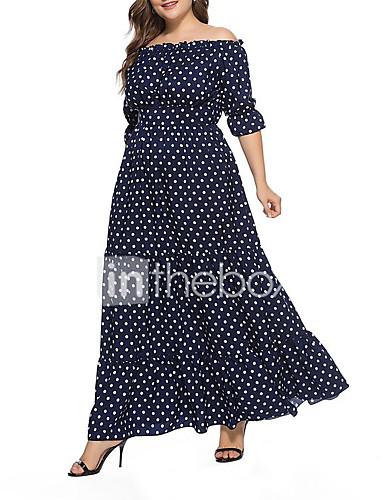 voordelige Grote maten jurken-Dames Boho Street chic Chiffon Jurk - Polka dot, Kant Veters Print Maxi