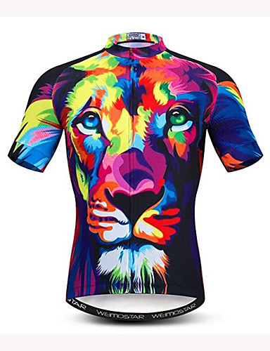 cheap Cycling Jerseys-21Grams Men's Short Sleeve Cycling Jersey Dark Navy 3D Animal Lion Bike Jersey Top Breathable Moisture Wicking Quick Dry Sports Polyester Elastane Mountain Bike MTB Road Bike Cycling Clothing Apparel