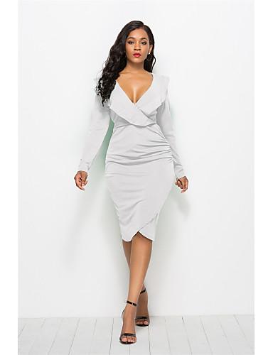 voordelige Grote maten jurken-Dames Standaard Schede Jurk - Effen Boven de knie