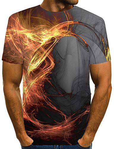 Erkek Yuvarlak Yaka Tişört Desen, Zıt Renkli / 3D / Grafik Sokak Şıklığı / Abartılı Kulüp AB / ABD Beden Gri / Kısa Kollu