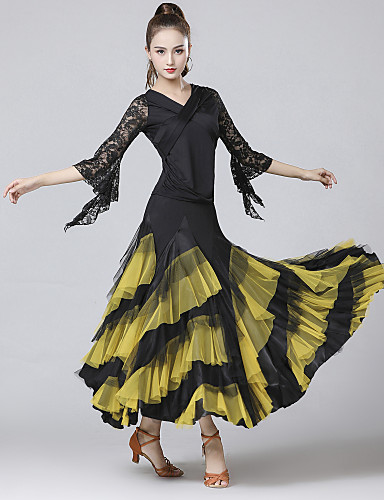 voordelige Shall We®-Ballroomdansen Outfits Dames Opleiding / Prestatie Polyester / Kant / Melkvezel Kant / Combinatie / Gelaagd 3/4 mouw Rokken / Top
