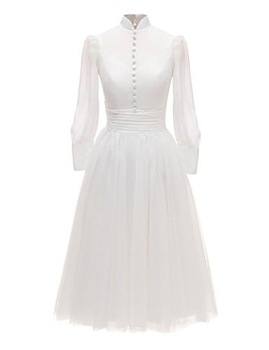 abordables Robes de Mariée 2019-Trapèze / Deux Pièces Col Haut Longueur Sol Tulle Robes de mariée sur mesure avec par LAN TING Express