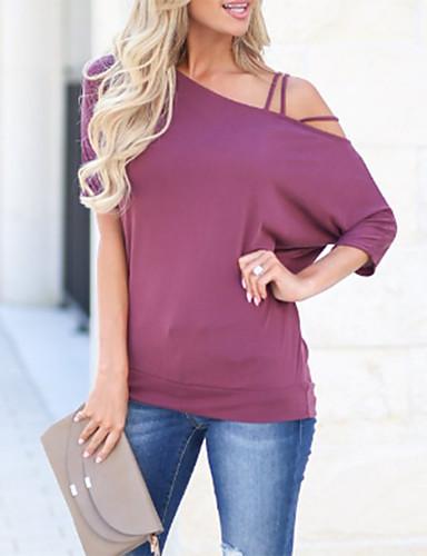 billige Dametopper-Bomull Løstsittende Enskuldret T-skjorte Dame - Ensfarget, Åpen rygg Gatemote / Elegant Ut på byen Svart