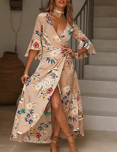 voordelige Maxi-jurken-Dames Grote maten Street chic Skater Jurk - Bloemen, Print V-hals Maxi