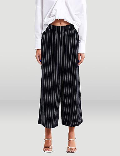 billige Tights til damer-Dame Gatemote Bred Bukseben Bukser - Stripet Svart og hvit, Klassisk / Stripe Regnbue L XL XXL