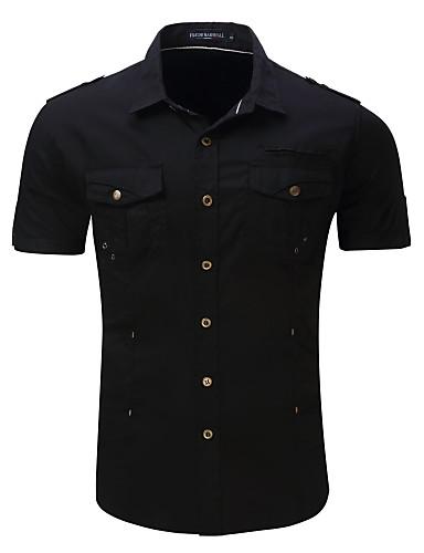 Erkek Gömlek Solid Temel AB / ABD Beden Siyah / Kısa Kollu
