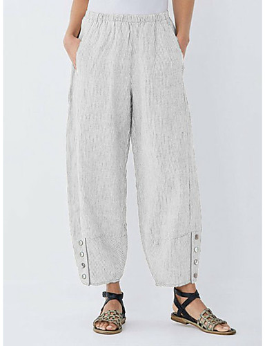 abordables Pantalons Femme-Femme Basique Sarouel / Chino Pantalon - Rayé Bleu & blanc, Mosaïque Noir Bleu Gris S M L