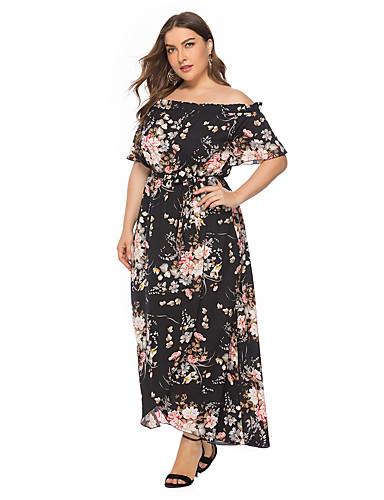 voordelige Grote maten jurken-dames boho a-lijn jurk - bloemenkoord zwart xxxl xxxxl xxxxxl