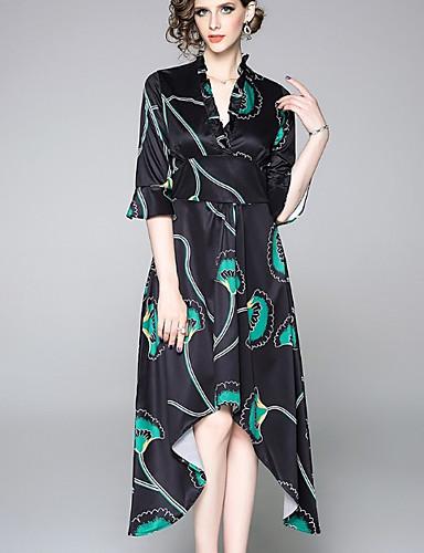 Kadın's Temel Çin Stili A Şekilli Çan Elbise - Solid Zıt Renkli, Kırk Yama Desen Diz-boyu
