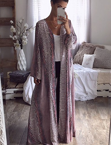 billige Ytterklær til damer-Dame Daglig Grunnleggende Maxi Trenchcoat, Stripet V-hals Langermet Lin Trykt mønster Lyseblå / Tynn
