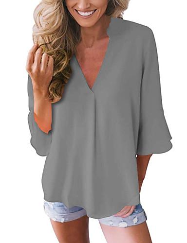povoljno Ženske majice-Veći konfekcijski brojevi Bluza Žene - Osnovni Kauzalni Jednobojni V izrez Crn