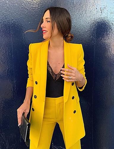 billige Ytterklær til damer-Dame Blazer Rundet jakkeslag Polyester Gul S / M / L