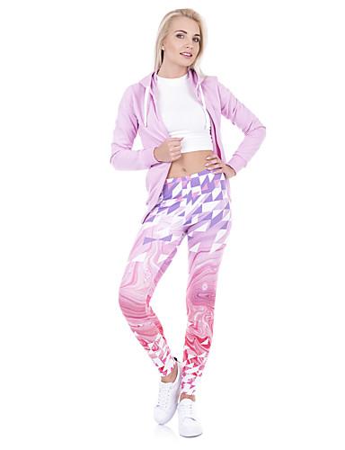 Kadın's Spor / Yoga Podstawowy Legging - Desen, Desen Orta Bel Doğal Pembe Tek Boyut