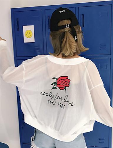 voordelige Damesblazers & jasjes-Dames Dagelijks / Sport Zomer Normaal Jack, Planten Sjaalrevers Lange mouw Polyester Wit / Skinny
