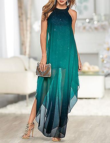 hesapli Maksi Elbiseler-Kadın's Zarif Kombinezon Elbise - Zıt Renkli Maksi