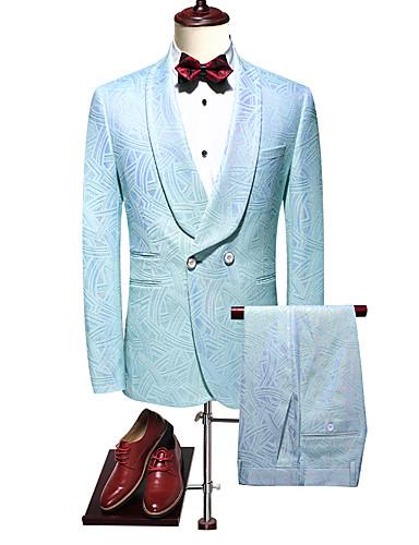 voordelige Heren T-shirts & tanktops-Heren Pakken, Effen Ingesneden revers / Puntige revers / Sjaalrevers Rayon / Polyester blauw / Slank
