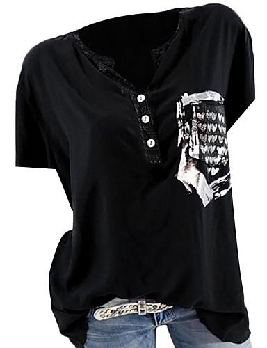 ราคาถูก เสื้อผู้หญิง-สำหรับผู้หญิง เสื้อเชิร์ต ฝ้าย การ์ตูน / ลายตัวอักษร ใบไม้สีเขียวที่มีสามแฉก