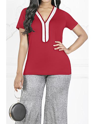 abordables Hauts pour Femme-Tee-shirt Grandes Tailles Femme, Bloc de Couleur Paillettes / Mousseline de Soie Col en V Fuchsia / Printemps / Eté / Automne